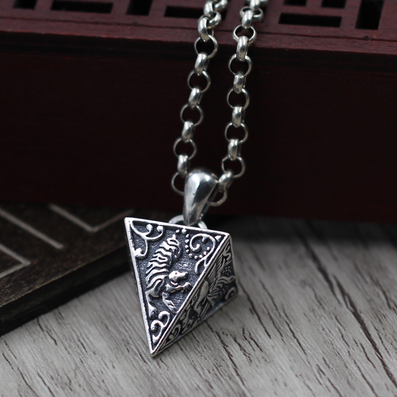 S925 Стерлингового Серебра Ожерелье Кулон Серебро и ретро старый четыре Животных Кулон мира