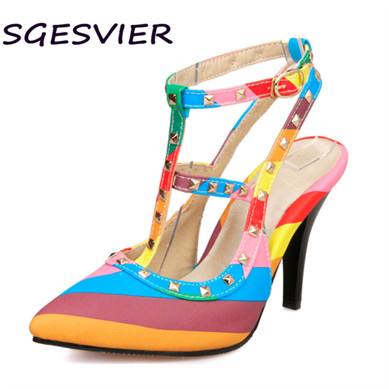 spring 2017 Sgesvier new arrival fashion lady concise style Women pumps buckle mixed colors high thin heel women shoes sc579 lady s pumps high thin heel spike heels mixed colors metal buckle elegant concise women wedding shoes 2015 high heels