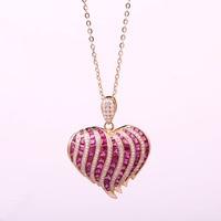 Robira Fashion Heart Shape Natural Ruby Pendant Necklace 18K Rose Gold Diamond Jewelry for Women Pendants Necklaces wholesale