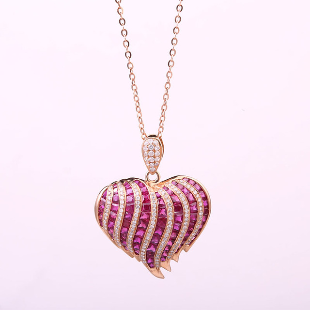 0c7149a7f61c Robira moda corazón forma natural rubí COLLAR COLGANTE 18 K oro rosa  diamante joyería para las
