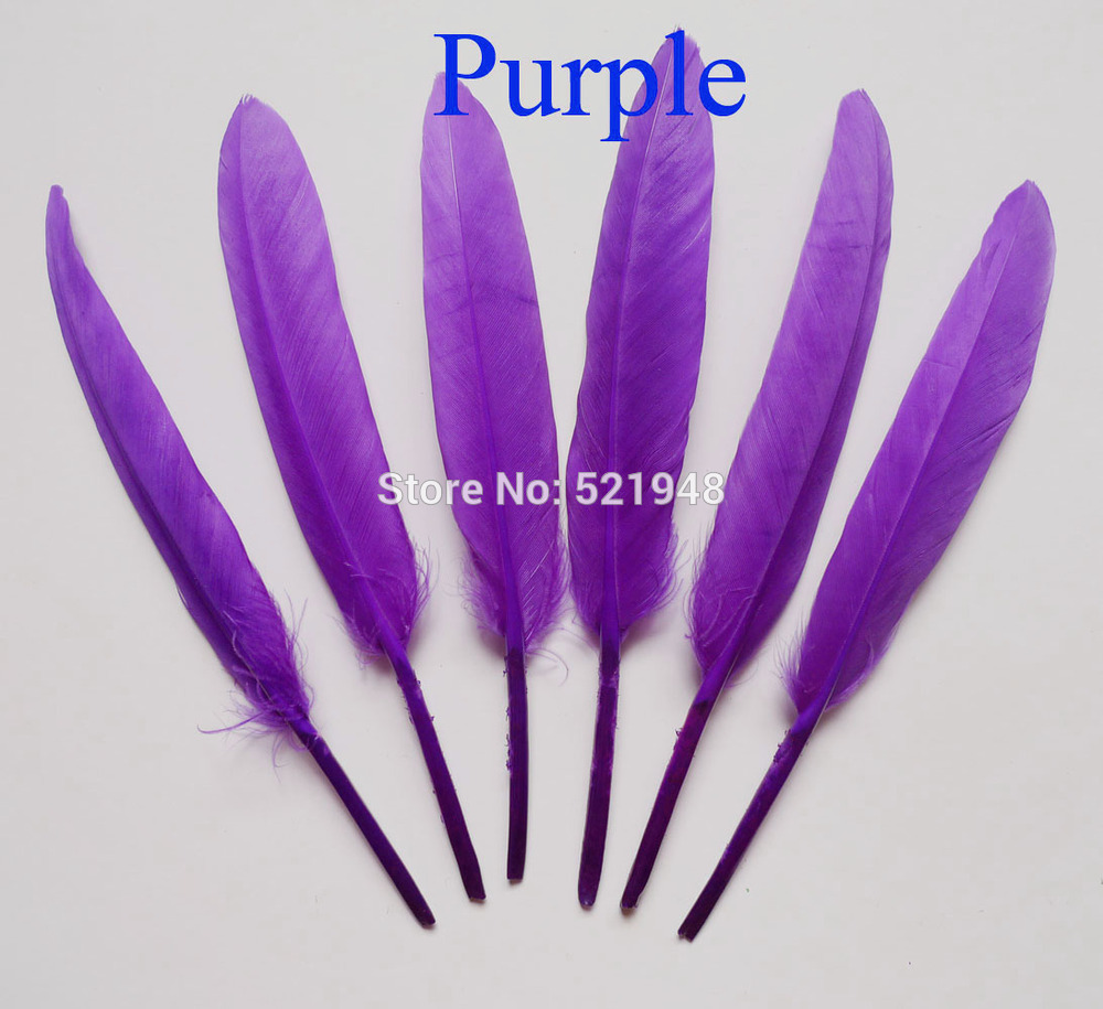 White craft feathers bulk - 100pcs Lot Purple Color Dyed Goose Feathers 4 6 10 15cm Diy Craft Feathers Wedding Decoration Natural Feather