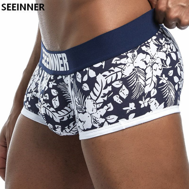 2018 New Brand Male Panties Breathable Boxers Cotton Men Underwear U convex pouch Sexy Underpants Printed leaves Homewear Shorts