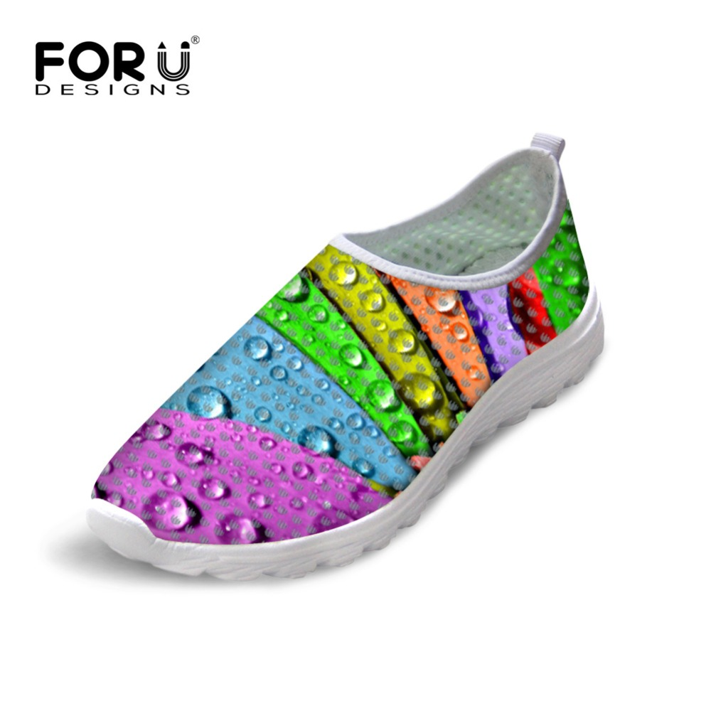 FORUDESIGNS Colorful Leaf Prints Women Summer Casual Shoes 2017 Brand Design Breathable Mesh Shoes for Ladies Flats Shoes Woman 2017 new summer zapato women breathable mesh zapatillas shoes for women network soft casual shoes wild flats casual shoes