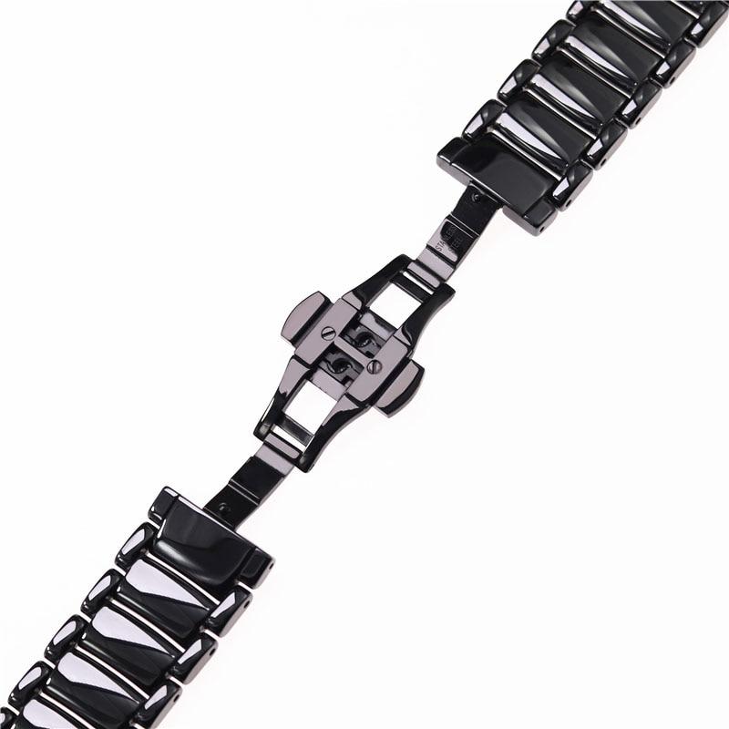 Image 5 - 22mm black high grade bright ceramic strap bracelet watchbands for Armani watch AR1507 AR1509 AR1499 ceramic watch-in Watchbands from Watches
