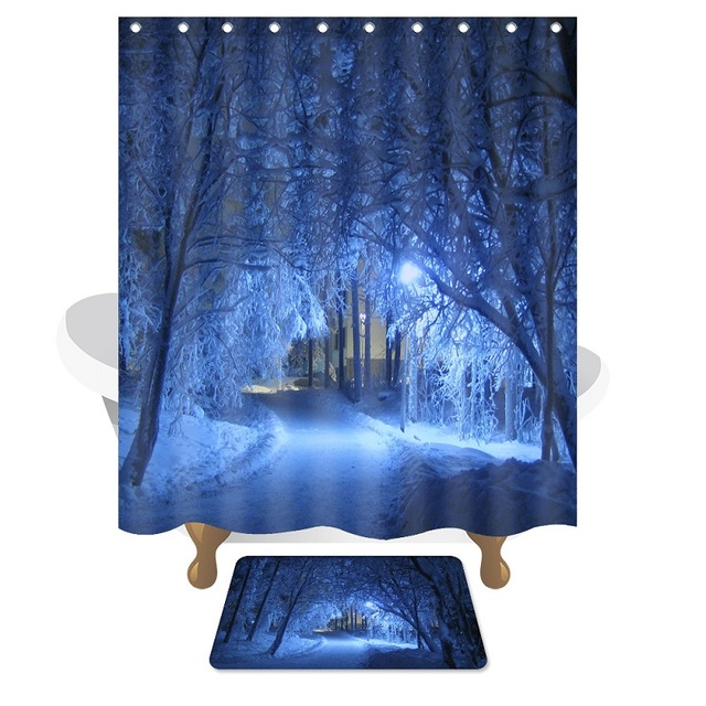 WLIARLEO Tree Trail Shower Curtain 3D Wonderland Scenic Bathroom ...