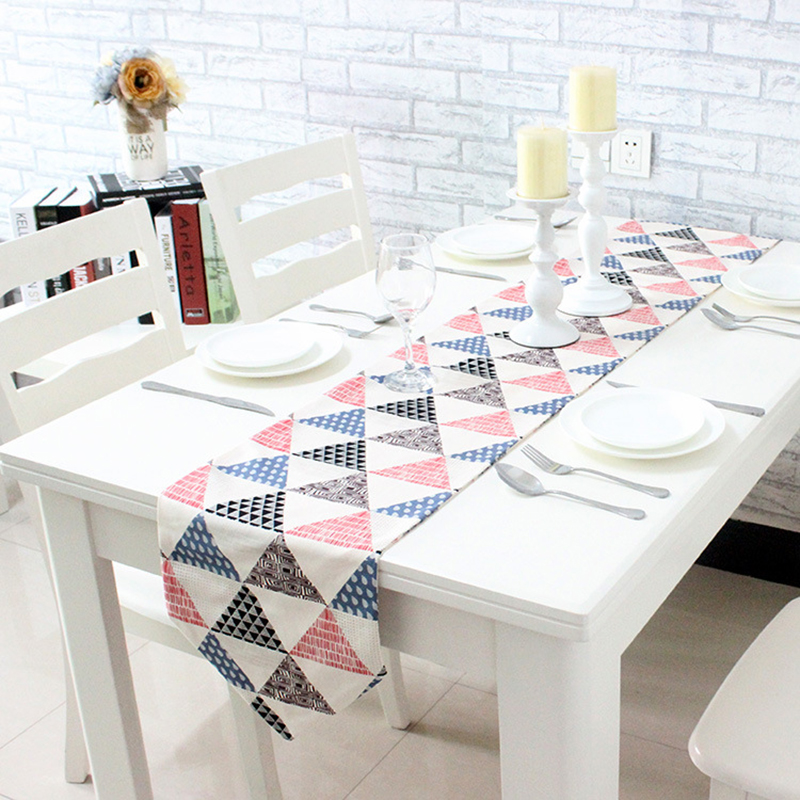 Colorful Geometric Triangle Table Runner Thick Cotton Canvas Placemats  Upscale Fabric Coffee Table Flag Bed Runner