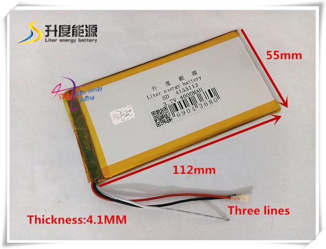 3.7 V 4000 mAH 4155112 de Polímero de lítio ion/Li-ion bateria para banco de potência telefone celular tablet pc speaker mp4 gps