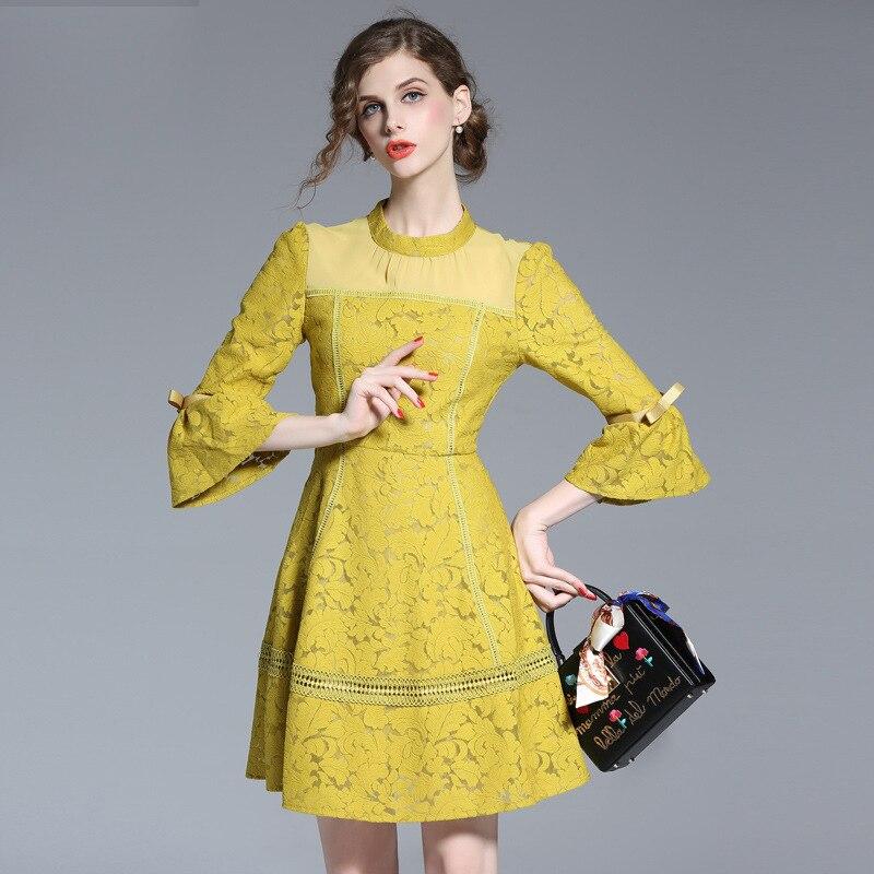 high quality yellow o neck women dress Slim dress Lamborghini Sleeve Lace dress new waist spring dress female 17045