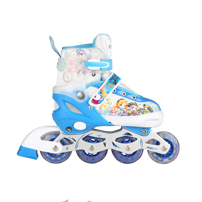 1 Pair Lovely Children Inline Ice Skate Roller Skating Shoes With Brake Adjustable Washable PU Patins 3 Colors For Girls Boy