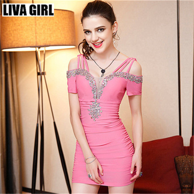 LIVA Girl sexy diamantes mini vestido noche club nocturno noble ...