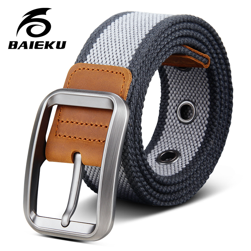 BAIEKU Jeans Men's Accessories Canvas Belt High Quality Stylish Design Canvas Belts Young People Tactical Belt 105-125cm