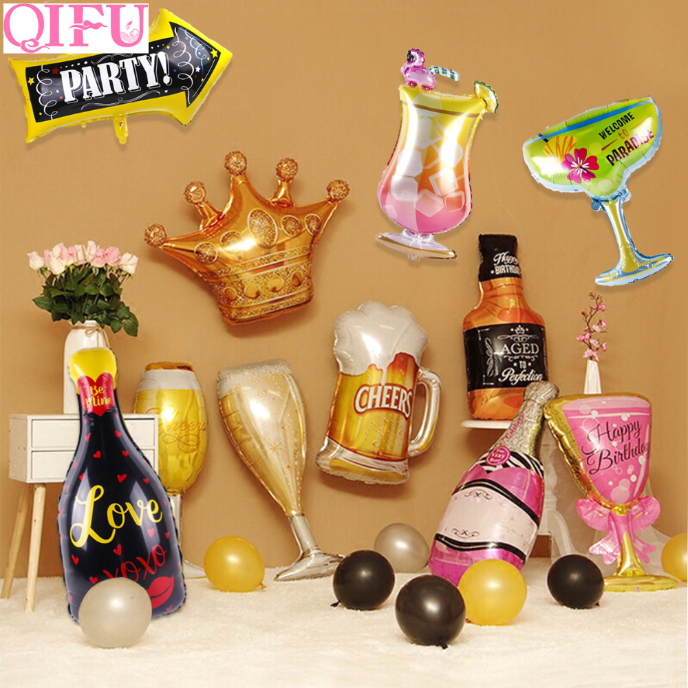 QIFU Balloon Champagne Bottle Foil Balloons Beer Cups Beer Signs Beer Bottle Opener Funny Birthday Party Decor Wedding Event