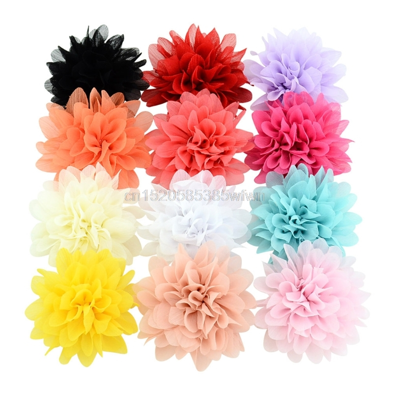12 Pcs/lot 9cm Chiffon Flower Baby Girls Hair Clip Baby Girls Barrette Headwear Accessory Color Random delivery Drop shipping ...