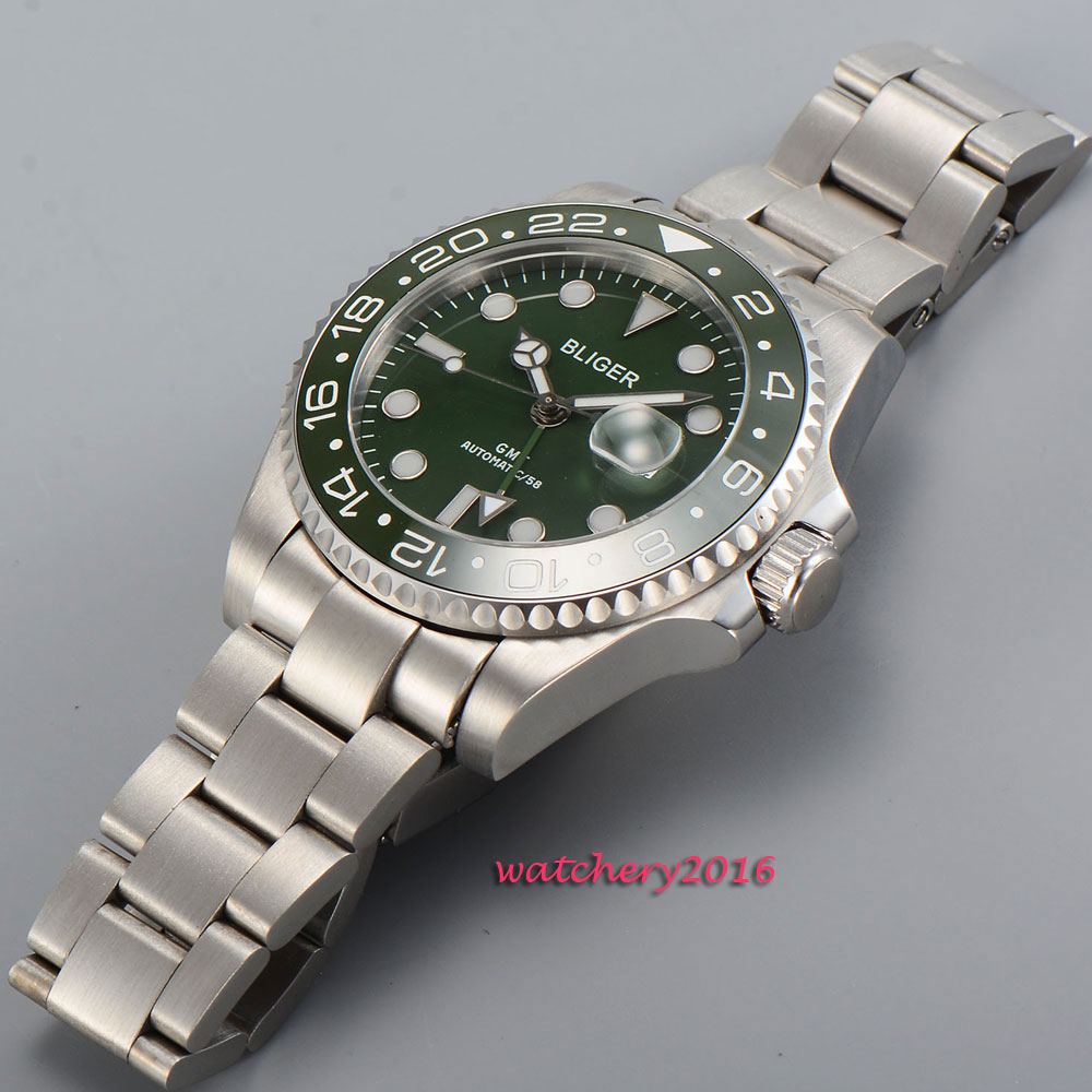 Fashion 43mm Bliger sapphire glass green dial date green ceramic bezel GMT Automatic movement Men 39 s Mechanical Wristwatches in Mechanical Watches from Watches