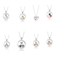 925 Sterling Silver Small Component Cute Mouse Sparkling Floating Locket Necklace with Pendant Charm Bead Fine DIY Jewelry Gift