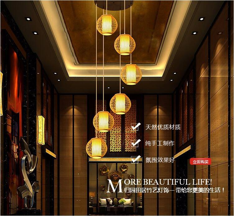 New Chinese Double Spinning Stairwell Long Chandelier Modern