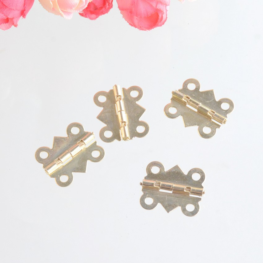 Free Shipping 50pcs Gold Tone Hardware 4 Holes DIY Box Butt Door Hinges (Not Including Screws) 20x17mm J3091 10pcs antique bronze cabinet hinges furniture accessories door hinges drawer jewellery box hinges for furniture hardware 36x23mm