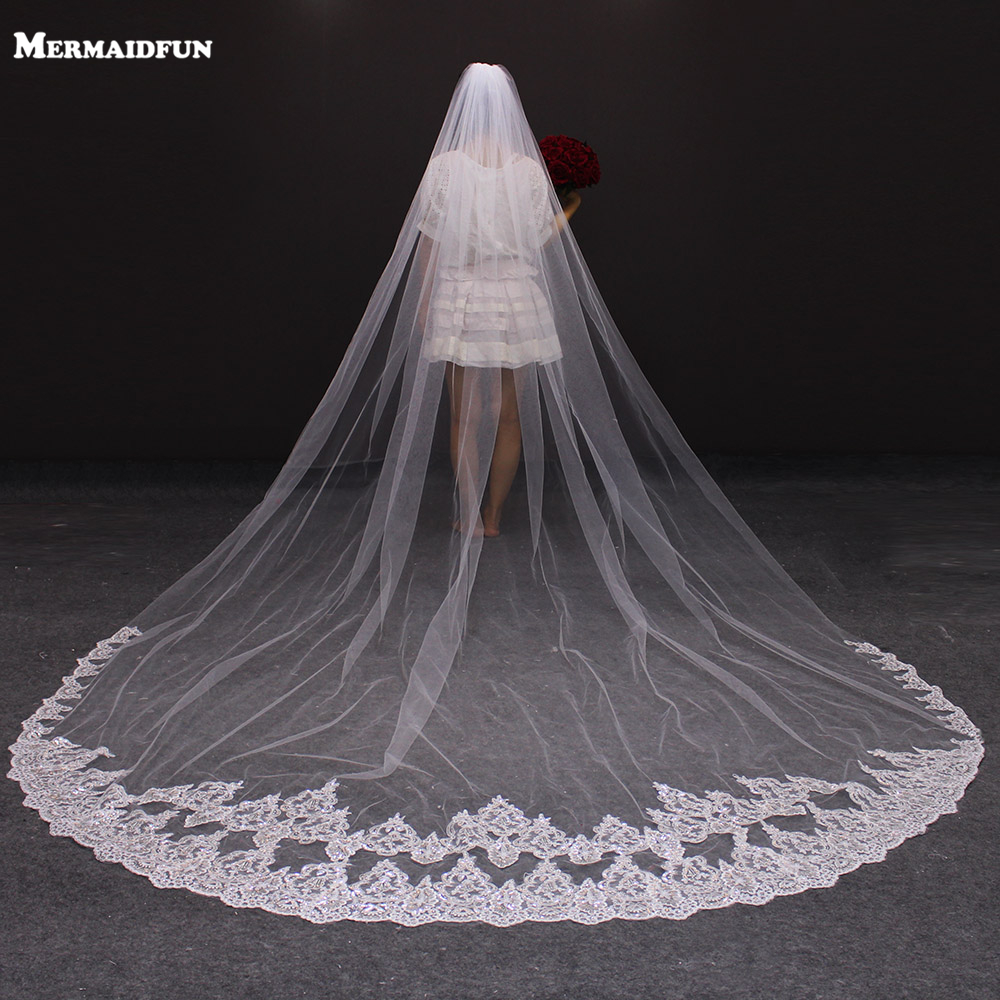 2018 Real Photos One Layer 3 Meter Bling Sequined Lace Long Wedding Veil Hvid Ivory Beautiful Bridal Veil Voile Mariage