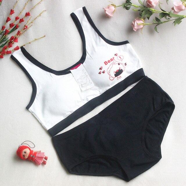 cf3a143d01 New Lovely Bra Girls Underwear Cotton Bra Vest +Briefs Sets Children  Underclothes Sport Undies Bustier