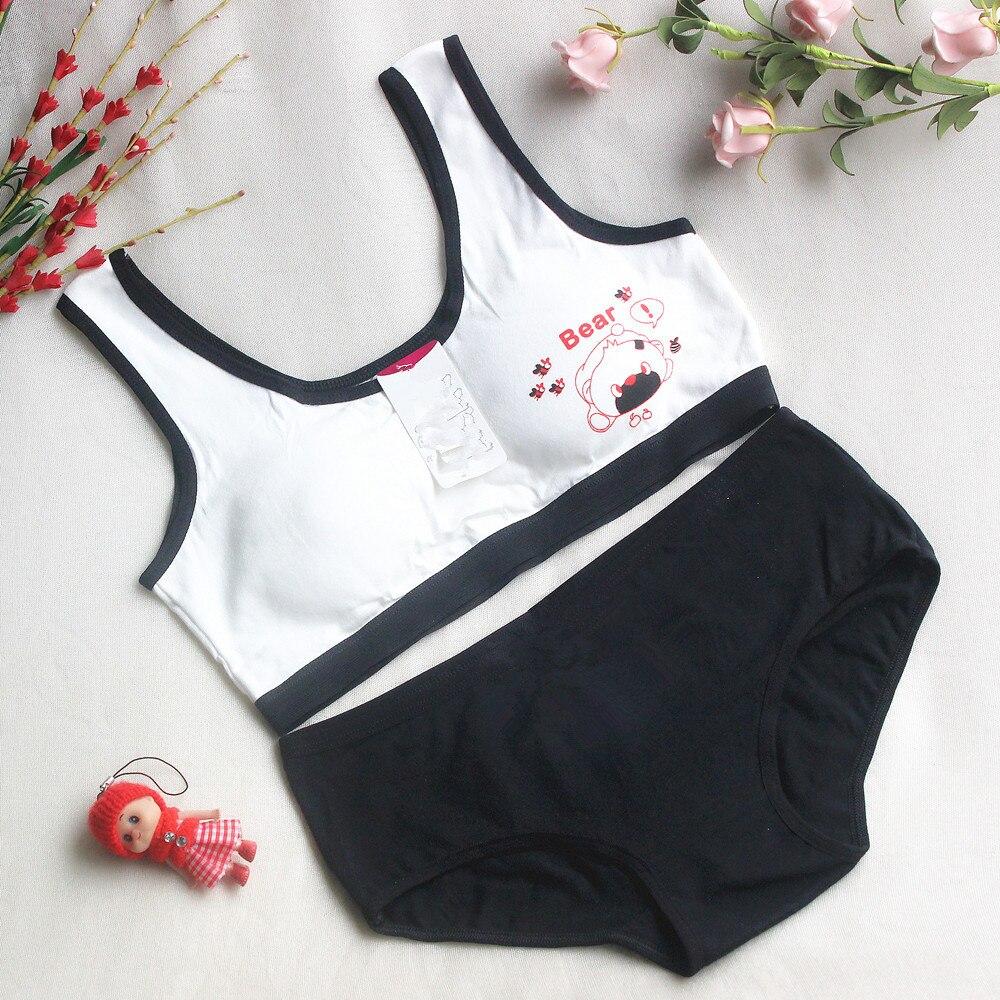 New Lovely Bra Girls Underwear Cotton Bra Vest +Briefs Sets Children Underclothes Sport Undies Bustier Crop Top wholesale