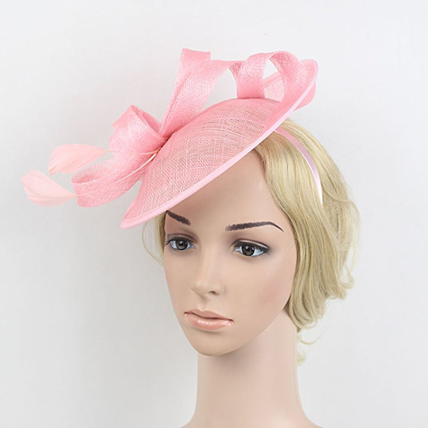 a0428c86 Fashion Pink Sinamay Top Hat Headband Hair Fascinator For Woman Cute Flower  Feather Hair Band Girls Holdiay Fancy Show Headpiece
