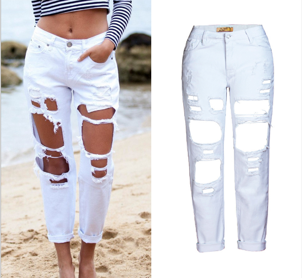 Women's Hole Denim Loose Straight Jeans BF Nine Pants 2019 Hot Sale Long Jeans