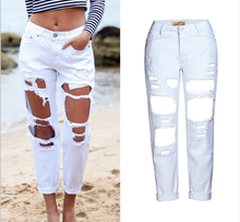 Womens Hole Denim Loose Straight Jeans BF Nine Pants 2019 Hot Sale Long
