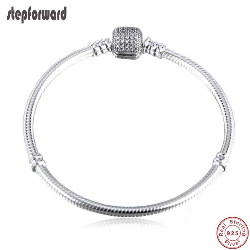 High Quality Moments CZ Pave Authentic 925 Sterling Silver Bracelet Fitting European Famous Silver Beads 925 sterling silver cz by the yard anklet bracelet 10