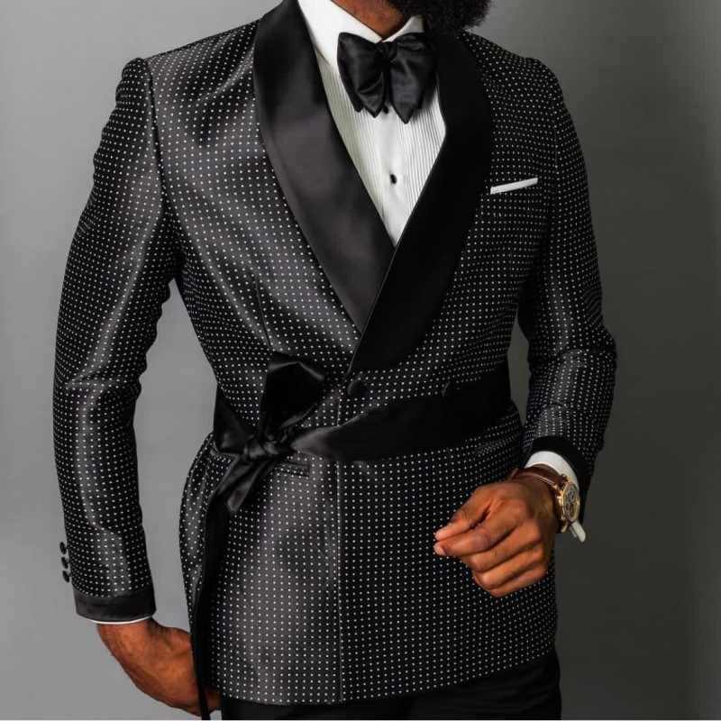 The latest fashion design double-breasted blazer men's groom wedding dress custom 3 pieces (jacket + pants + belt)