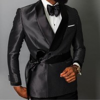 The latest fashion design double breasted blazer men's groom wedding dress custom 3 pieces (jacket + pants + belt)