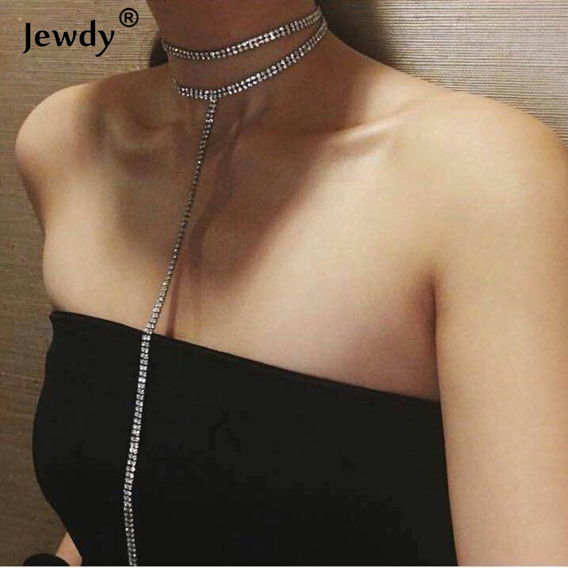 Glam choker 2017 Rhinestone Choker Ожерелье Кристалл Цепи Заявление Ожерелье Модный Chocker Ювелирных Изделий Венчания Мар