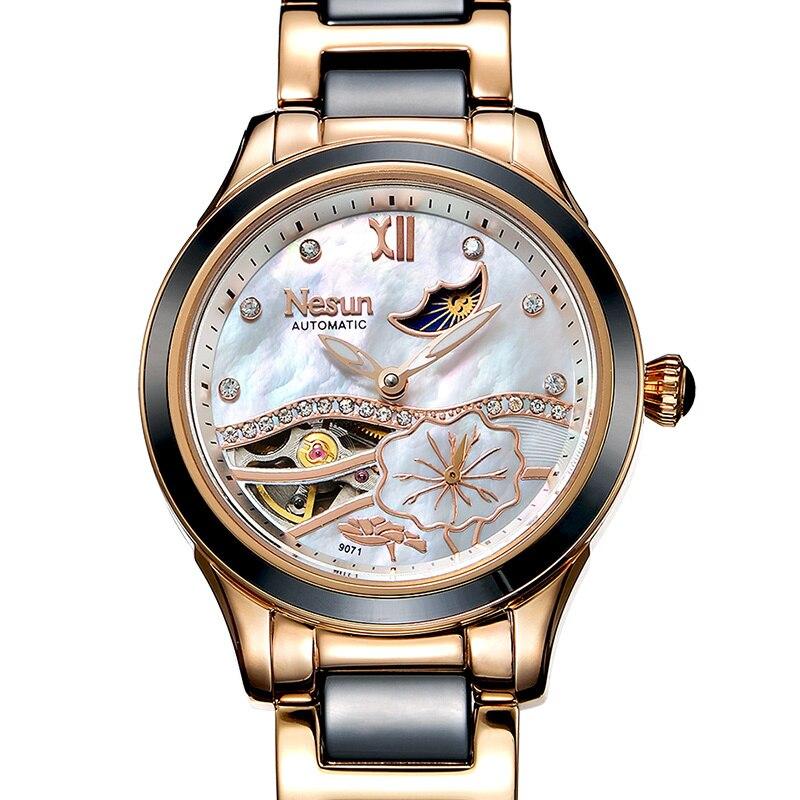 Nouveau Suisse Nesun Creux Tourbillon Femmes Montre Marque De Luxe Horloge Automatique Auto-Vent Poignet Dames Imperméables Montre N9071-2