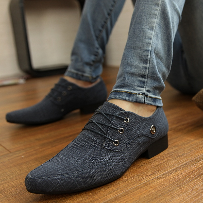 GOXPACER Men Shoes Dress Shoes Four Seasons Men Flats Thick Heels Inner Height All Match Male British Style Vintage Business