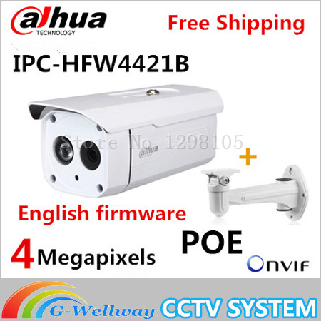 Original Dahua with bracket DH-IPC-HFW4421B 4MP HD WDR Network LXIR Bullet Camera CCTV IP IPC-HFW4421B dahua dh ipc hfw4421sp 0360b