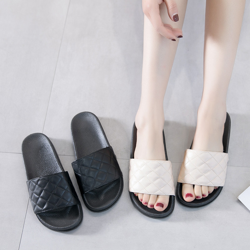 HKCP Fashion 2019 new Korean version retro slippers female summer wear street harajuku one word slippers beach C378 in Slippers from Shoes