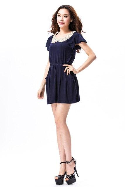 2013 summer new Korean version of cotton lace sequined women big yards short sleeve dress Slim retro doll collar
