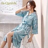 J&Q 2019 Fashion Satin Pyjama Robe Crane Printing Home Robe Bridesmaid Robe Women Satin Bathrobe Long Sleeve Kimono Robe Women