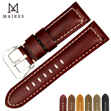MAIKES New Watch Accessories Leather Strap Watch Band 22mm 24mm 26mm Watch Bracelet Wristband For Panerai Watchband цена и фото