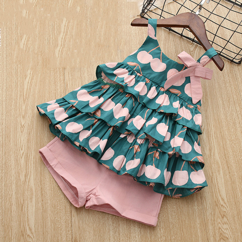 New Brand 2019 Girls Summer Clothes Set Cake Shirt And Pink Short Pants Cotton Lovely Cute