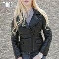 Зима женщины подлинная кожаное пальто из натуральной кожи короткая куртка черный 100% овчины мотоцикл куртки пальто abrigos mujer LT950