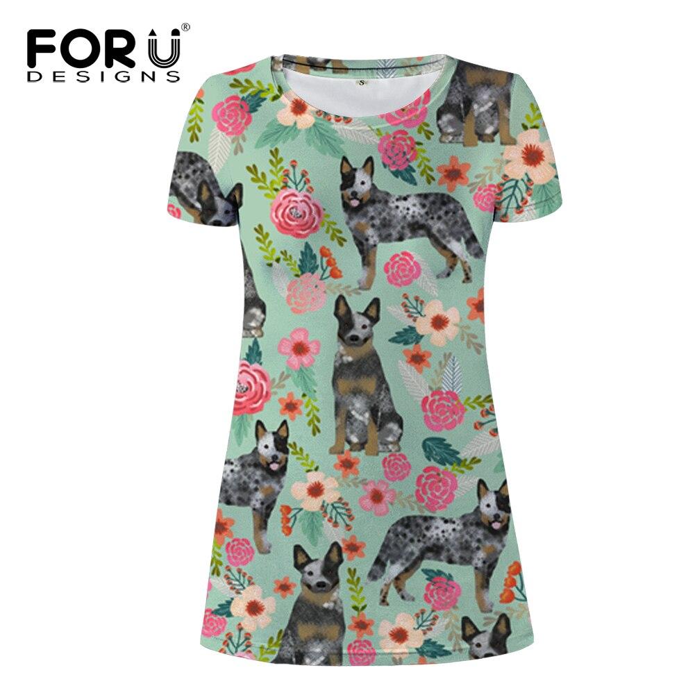 FORUDESIGNS Australian Cattle Dog Florals Cream Print Women Dress Ladies Fashion Mini Dress for Females Teen Kawaii Puppy Dress in Dresses from Women 39 s Clothing