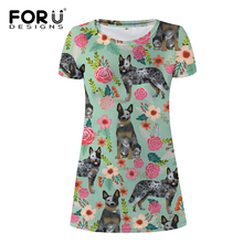 FORUDESIGNS Australian Cattle Dog Florals Cream Print Women Dress Ladies Fashion Mini Dress for Females Teen Kawaii Puppy Dress