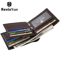 KEVIN YUN Designer Brand Men Wallets Genuine Leather Short Wallet Male Business Purse Card Holder Large