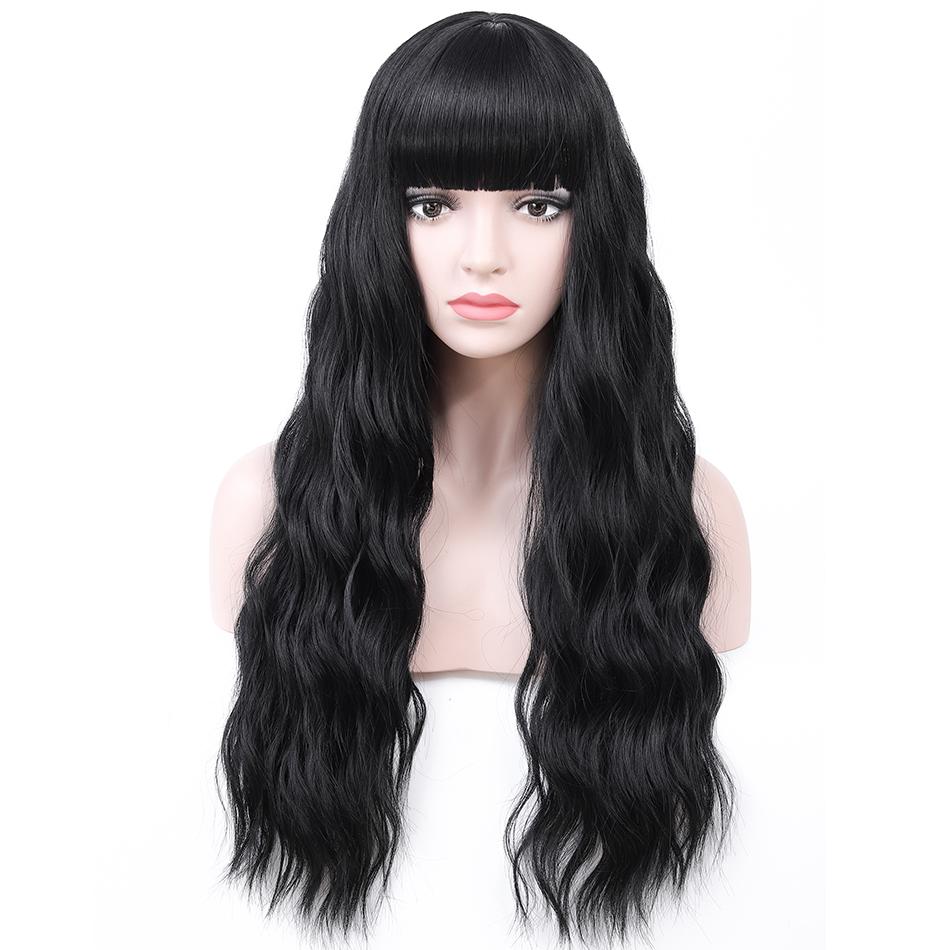 Rosa Star Long Wavy Wig With Bangs For Women Synthetic Wigs Heat Resistant Cosplay Costume Colorful Wigs 7 Color