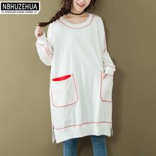 NBHUZEHUA 7G579 À Manches Longues T-Shirt Femmes Harajuku Coton Tops Plus  La Taille femmes a13395eec030