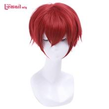 L email парик, совершенно новый Ranma 1/2 Ranma Saotome Косплей парики 25 см красный бордовый короткие синтетические волосы перуки унисекс косплей парик