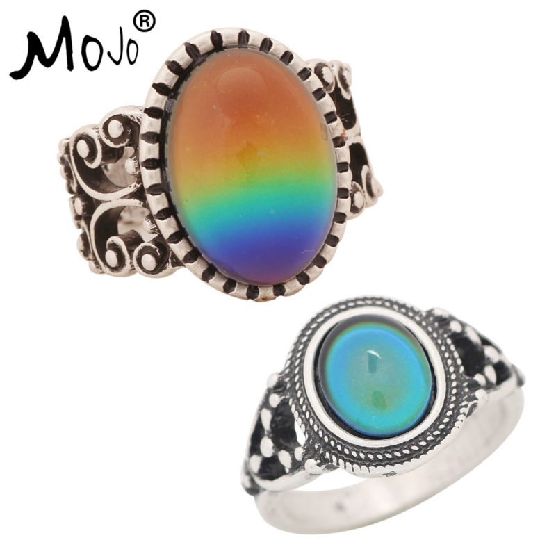 2PCS Antique Silver Plated Color Changing Mood Rings Changing Color Temperature Emotion Feeling Rings Set For Women/Men 003-006