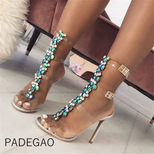 Women Sandals 2019 Luxury Party Elegant Wedding High Heels Sandels Sexy Crystal Pumps Transparent Shoes