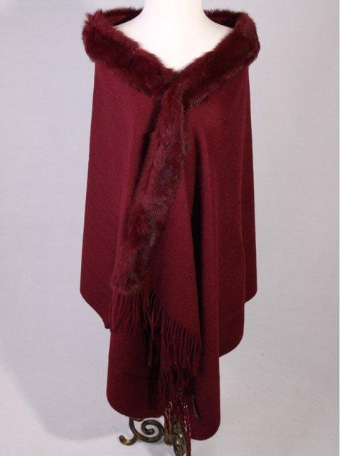 Novo Inverno Xale Borgonha das Mulheres Chinesas 100% Lã Cashmere Rabbit Fur Scarf Grosso do Envoltório Quente SC-011