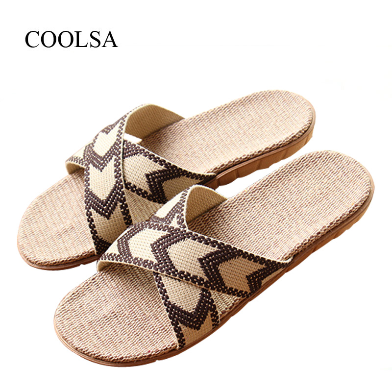 COOLSA Men's Summer Cross-tied Linen Slippers Indoor Flat Canvas Non-slip Flax Slippers Beach Flip Flops Bathroom Slippers Hot coolsa women s summer flat non slip linen slippers indoor breathable flip flops women s brand stripe flax slippers women slides